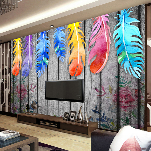 Custom Any Size Wall Murals Wallpaper Modern Hand Painted Wood Board Colored Feathers Abstract Art