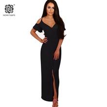 NORA TWIPS Women Sexy V Neck Ankle-Length Empire Waist Summer Dress 2018 New Solid Long Beach Dress Maxi Dress Black Blue S-XL