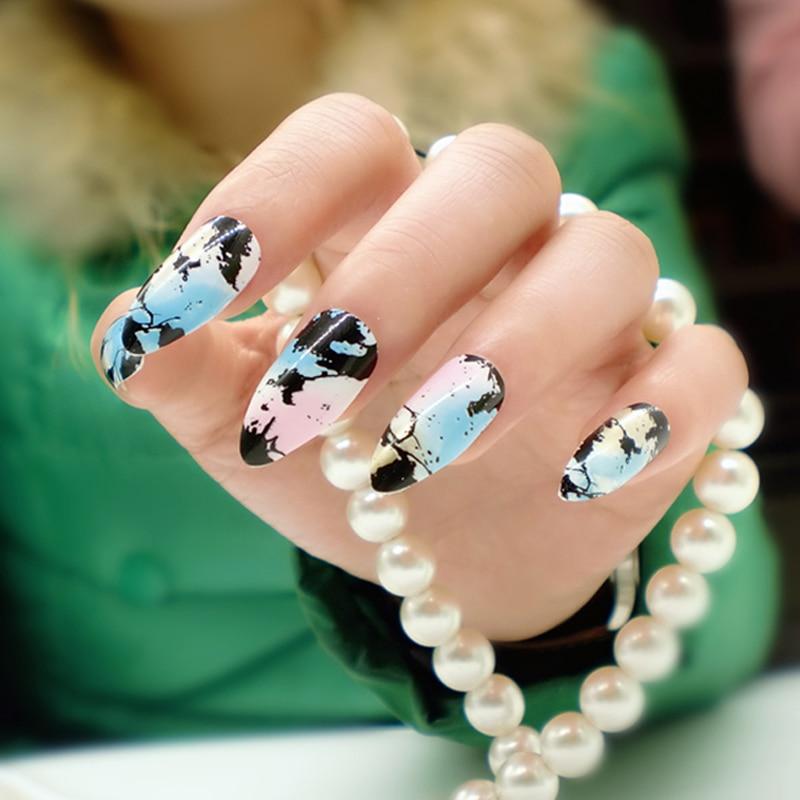 New 24pcs Stiletto Nails Colored Fake Nail Tips Cusp Charming ...