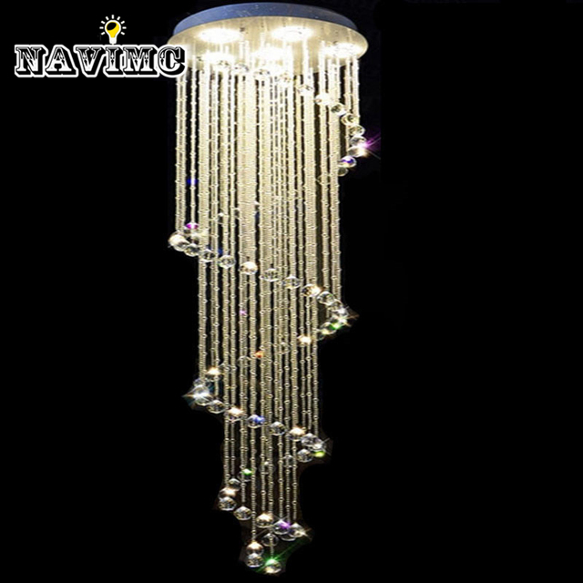 Spiral crystal light fixture long crystal chandelier light lustre de spiral crystal light fixture long crystal chandelier light lustre de cristal for staircase stairs aloadofball Choice Image