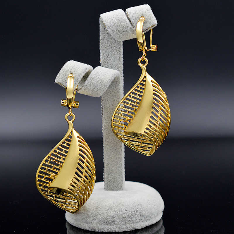 Ensoleillé bijoux déclaration bijoux 2019 collier suspendus boucles d'oreilles pendentif pour femmes ensembles de bijoux évider goutte d'eau pour la fête