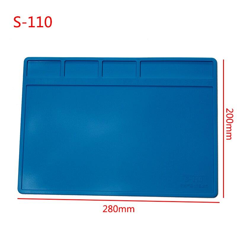 S-110 Insulation Pad Heat-Resistant Silicon Soldering Mat Work Pad Desk Platform Solder Rework Repair Tool Station 280mm X 200mm