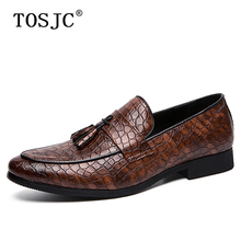 TOSJC Brand New Trend Man Tassel Loafers Crocodile Pattern Pointed-toe Oxfords Mens Wedding Formal Shoes Breathable Dress