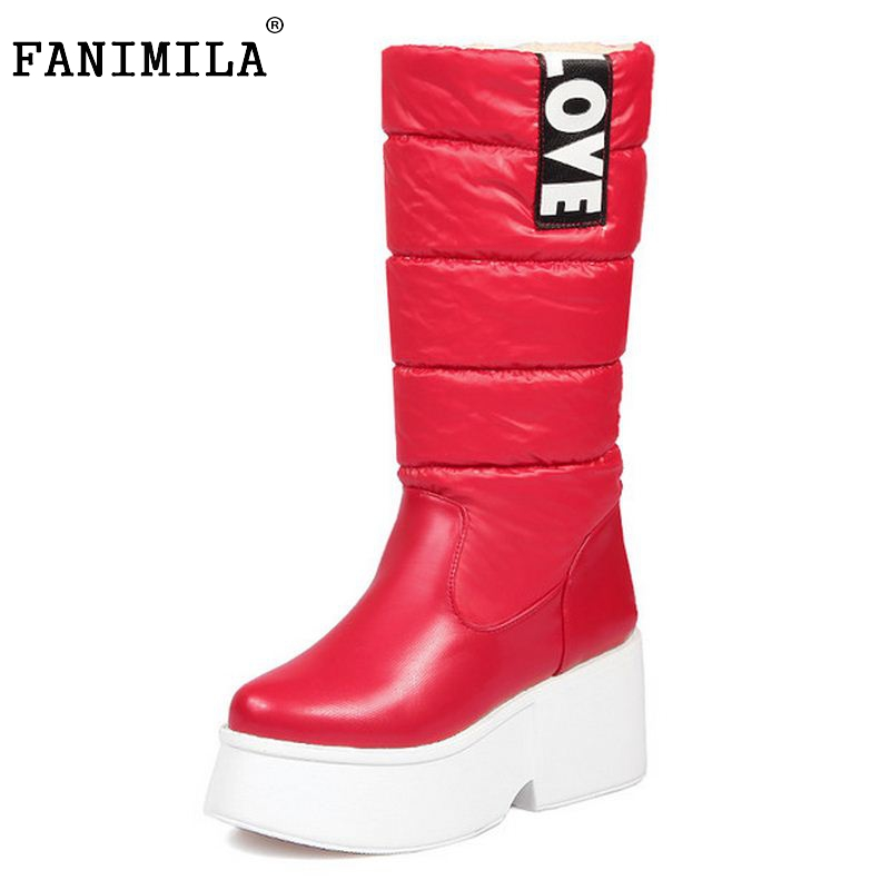 Winter Thick Fur Inside Warm Snow Boots Platform With Bowtie High Quality Mid Calf Half Boots For Women Shoes Size 34-43 shiningthrough size 33 43 winter women boots thick high heels round toe platform shoes solid pu leather mid calf boots