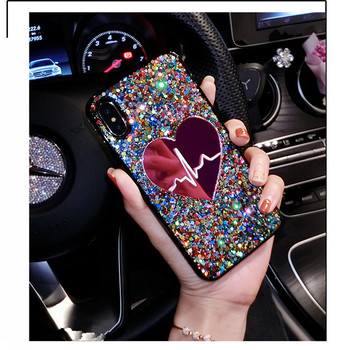 Glitter Sequin Big Heart phone Case For iPhone 11 Pro Max X XS MAX XR 6 7 8 plus 3D Love Soft TPU Cover For Samsung S9 S10 Note9 2