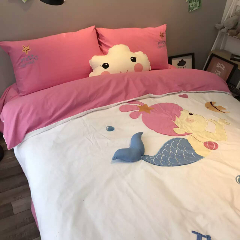100% Cotton Duvet Cover Bed Sheet Pillowcase Bedding Set Cute Mermaid Applique Embroidered Duvet Cover Set For Kids Room