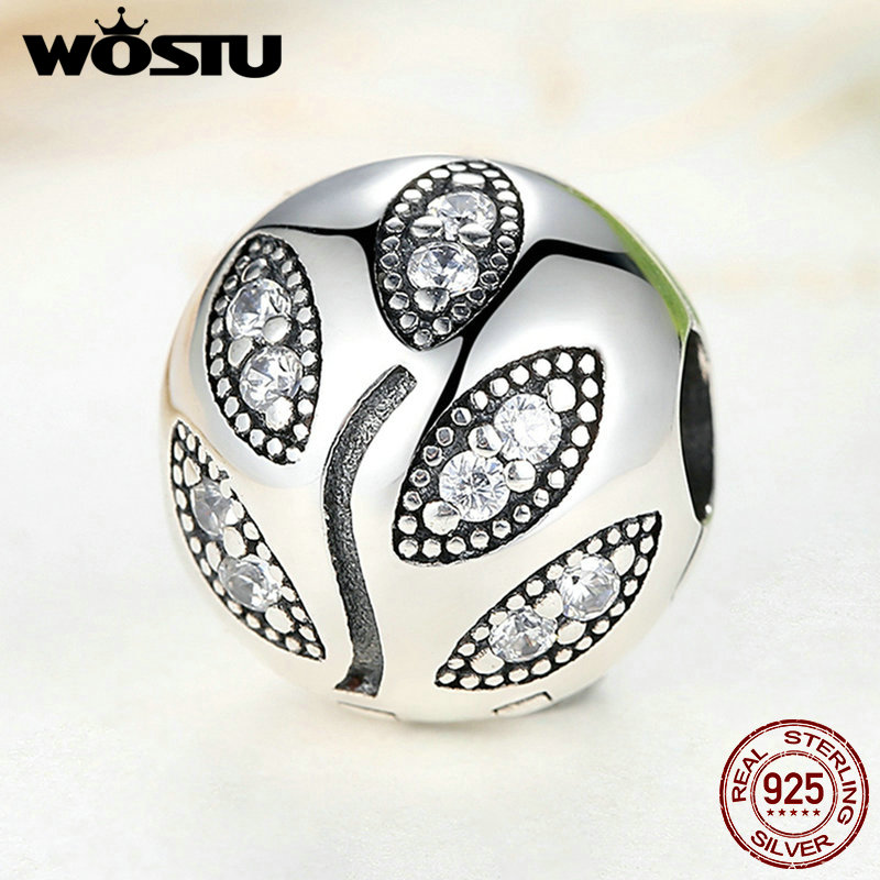 Real 925 Sterling Pure Silver Sparkling Leaves Clip Charm Bead Fit Original WST Bracelet Authentic S925 Fine Jewelry