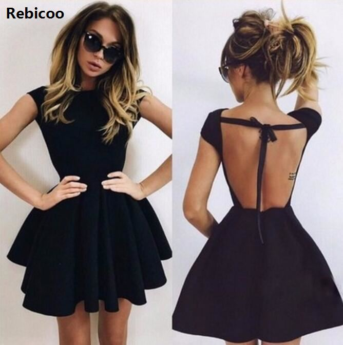 New 2018 Summer Dress Women Sexy Dress Lace Up Hollow Out Backless Short Bodycon A-line Mini Night Club Party Dresses