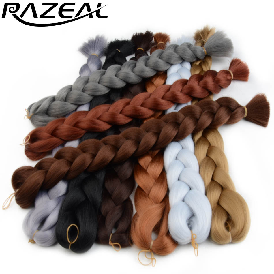 Hair Braids Razeal 2pcs 24 100g/pack Pure Color High Temperature Fiber Jumbo Braiding Hair Synthetic Crochet Braids Hair Extensions Luxuriant In Design