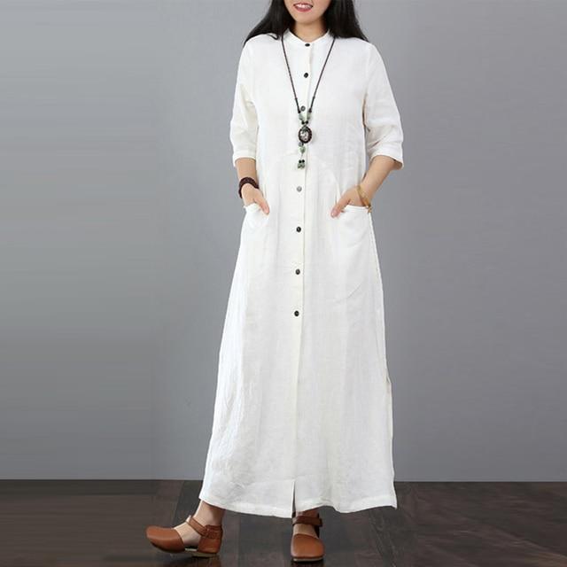 ZANZEA 2018 Autumn Plus Size Maxi Dress Long Tops Women Button Down Shirt  Dress Female Casual Split Cotton Linen Long Vestidos