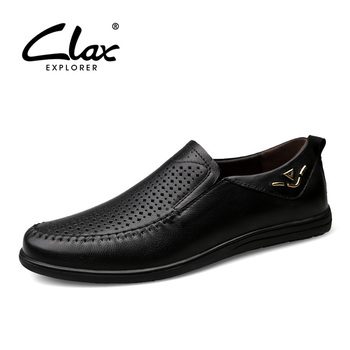 CLAX Mens Moccasins Genuine Leather 2019 Summer Man Loafers Breathable Male Shoes Flats Slipons