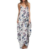 Boho Women Maxi Dresses Summer Floral Printed Long Vestidos Sexy Spaghetti Strap V Neck Floor Knee