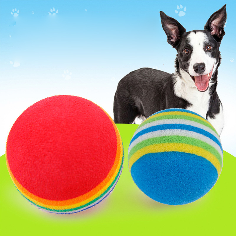 Pet Dog Rainbow Ball Toy Colorful EVA Rubber Safety Chew Toys for Small Dogs Cats Puppy Kitten Animals Training
