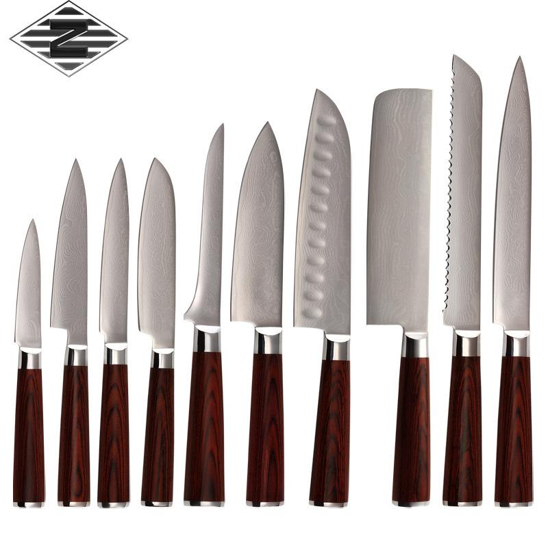 qing damasco coltello 10 pz utensile da taglio set di alta qualit 9cr18mov acciaio di damasco