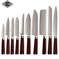 Qing damascus knife 10pcs set cutting tool high quality 9Cr18Mov steel damascus kitchen knife set cooking lover's best gift