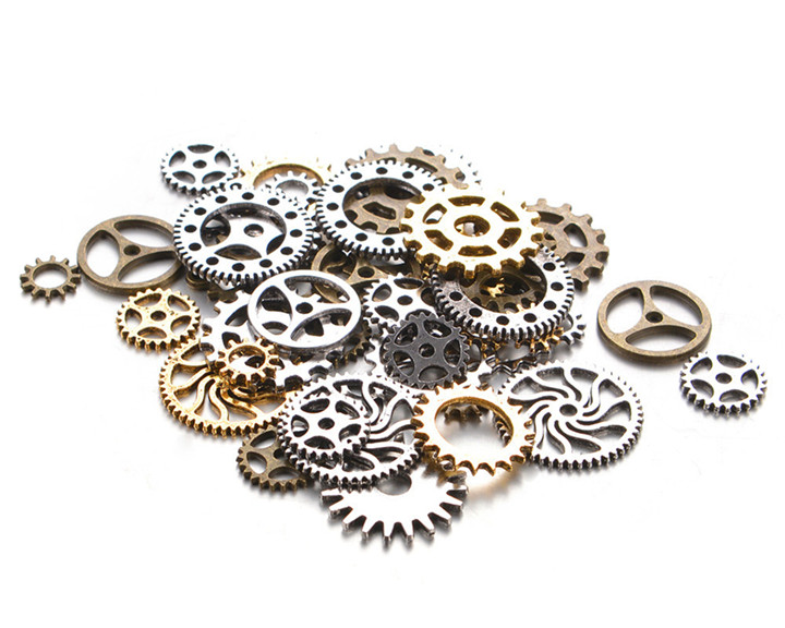 2 50g Steampunk Gears DIY Jewelry Accessories Gold Silver Gears Cog Wheel Charms Pendant Bracelet Accessories Diy Jewelry Making