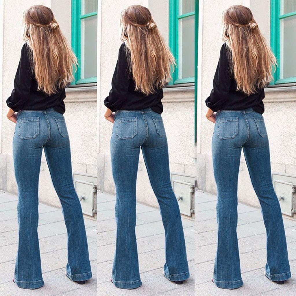 High Waist   Jeans   new Women Autumn Elastic Plus Loose Denim Pocket Casual Boot Cut Pant   Jeans   women   jeans   z0312