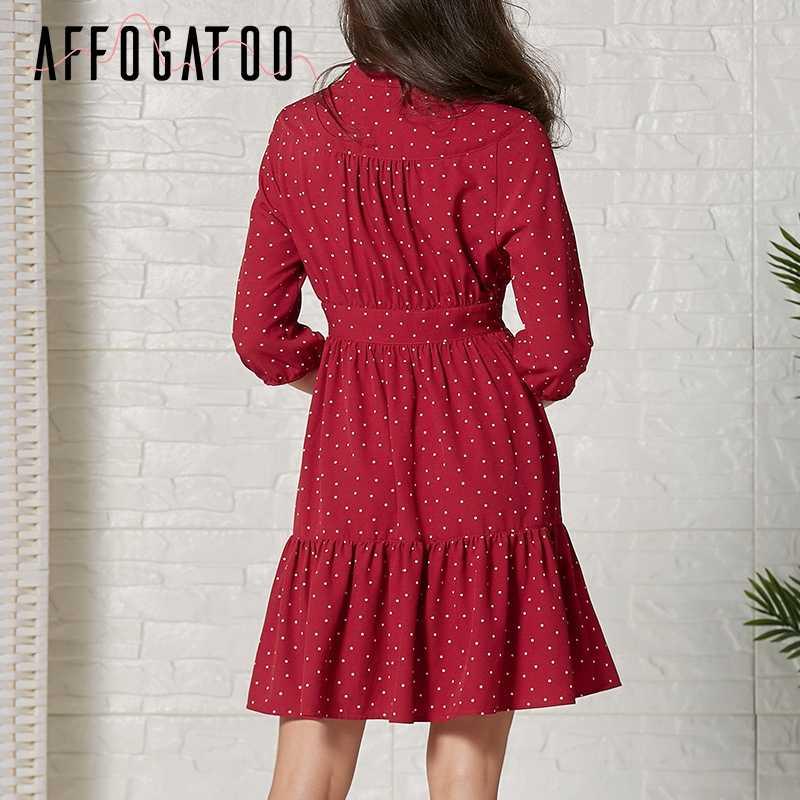Afogafoo элегантное женское летнее платье на шнуровке с высокой талией, в горошек, с принтом, женское короткое платье, повседневное, праздничное, бохо, красное, женское платье