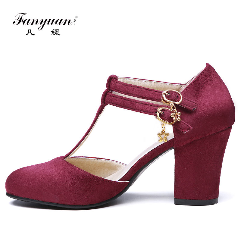 51d45cdb98a Fanyuan Hot Spring Summer Women Thick Heels Pumps Faux Suede Plus Size  Ladies Round Toe with Buckle Med Heels T Strap Pumps