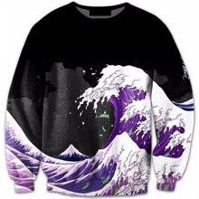 Cloudstyle 2017 3D Толстовка Для мужчин О-образным вырезом с длинными рукавами Harajuku Стиль волна 3D пуловер с принтом Горячая осень Фитнес Топы корректирующие плюс Размеры 5XL