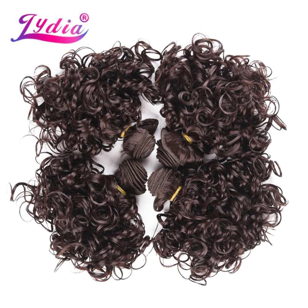 Lydia 4 قطعة/الوحدة الاصطناعية قصير مجعد الشعر 12 بوصة مزدوجة لحمة موجة للنساء الشعر حزم بني غامق النسيج