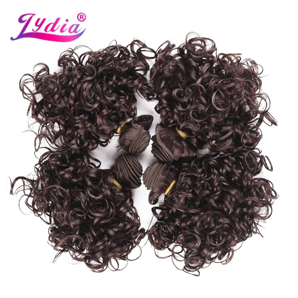 Lydia 4st / Lot Syntet Short Curly Hårförlängningar 12 tum Dubbla - Syntetiskt hår - Foto 2