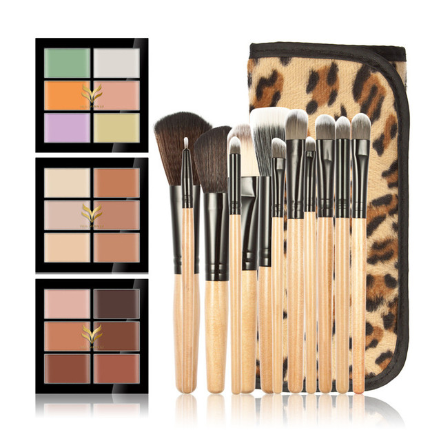 HUAMIANLI  Brand New 12 pcs Foundation Brush Up Brushes Professional Makeup Brush Set + 6 Colors Concealer Hot Cosmetic Tools