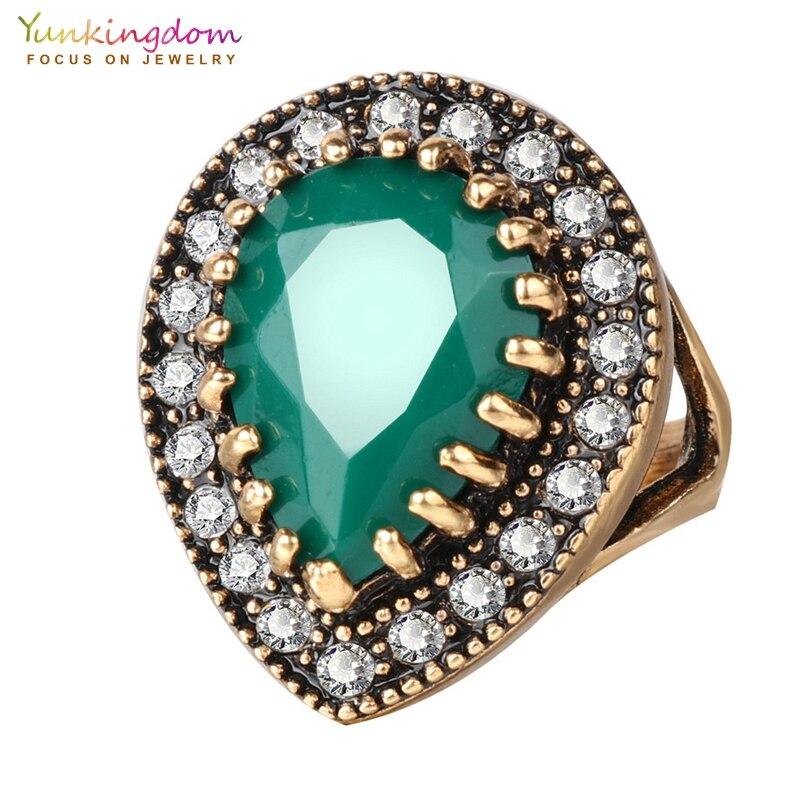 Yunkingdom, винтажное большое кольцо с каплями воды, античное золото, цветные кристаллы, смола, этнические ювелирные изделия, кольца для женщин