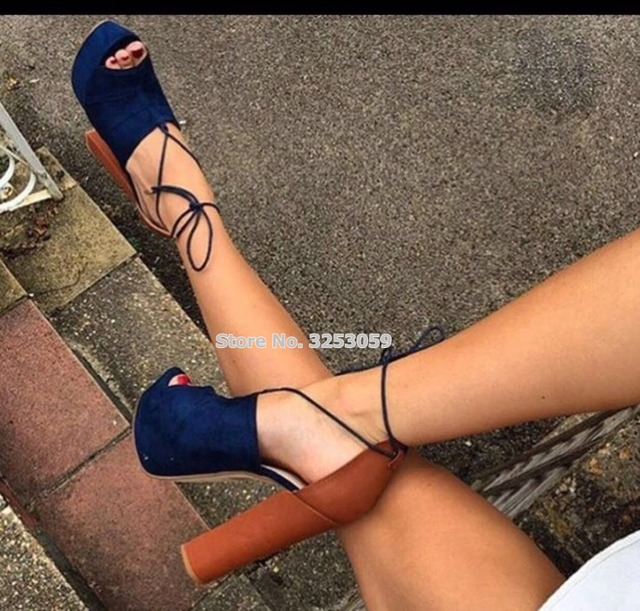ALMUDENA Top Brand Hot Selling Women Thick High Heels Sandals Lace-up Blue  Suede Open Toe Platform Dress Shoes Banquet Pumps 4354d446a8ad