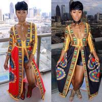 Sexy African Dresses Women Print Dashiki Dress Long Sleeve Split Long Dress Vestido Floral V Neck 2017 Casual Dress Party Woman