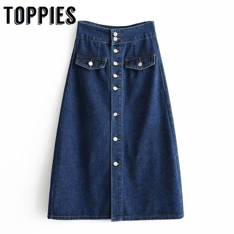 Vintage Single Breated Button Denim Skirts Womens High Waist Midi Skirts Ladies Fashion Streetwear