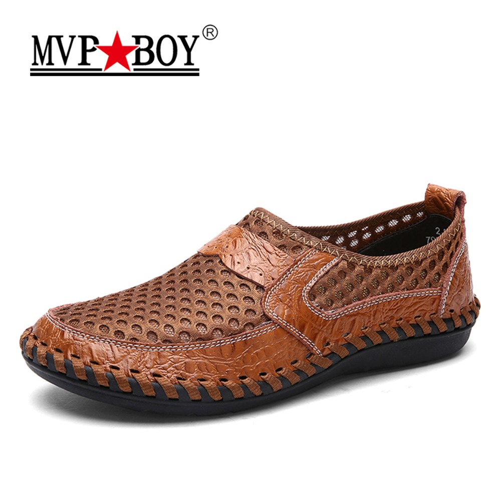 Big Size 2018 New Breathable Mesh Shoes Men Casual Shoes Genuine Leather Slip On Brand Fashion Summer Shoes Man Soft Comfortable big size 46 summer breathable mesh loafers men casual shoes genuine leather slip on brand fashion flat shoes soft comfort cool