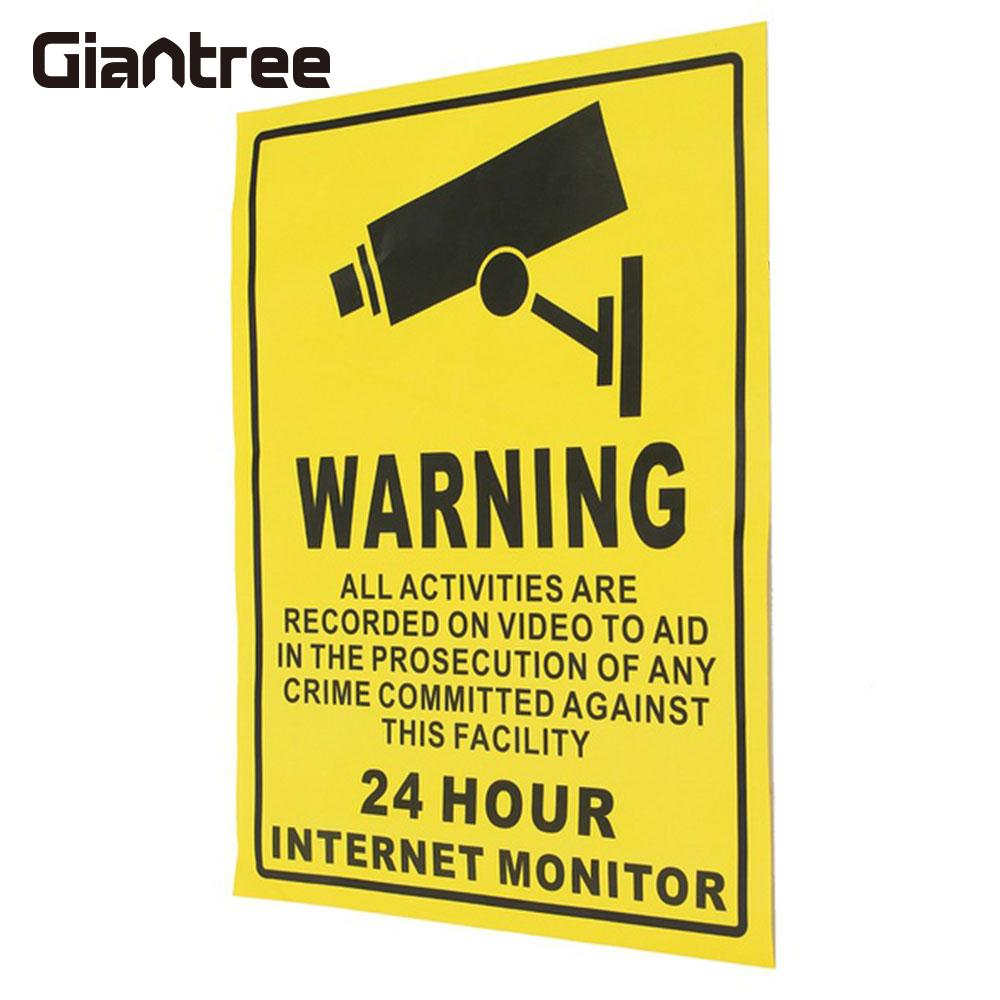 Warning Sign Sticker 140mmx110mm Protection Premium CCTV Security Sticker 24 HOUR Camera System Video Security Decals Posted