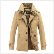 hot deal buy russia gentleman winter warm outerwear coats trend men lapel neck jackets black green brown cottons men buttons casual jackets