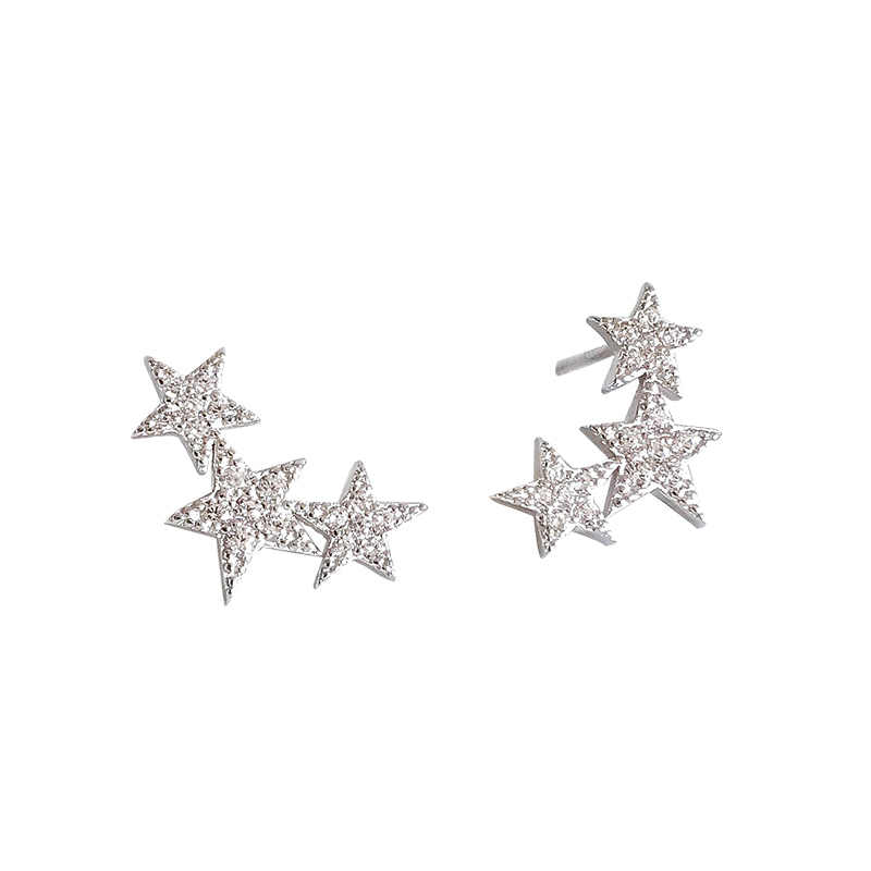 217ZHAO jewelry S925 silver Stud Earrings Pentagram Zircon temperament Simple personality Ornaments