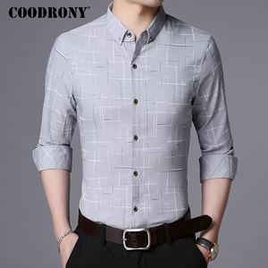 Image 3 - Рубашка COODRONY мужская с длинным рукавом, деловая повседневная одежда, хлопок в клетку, 2019