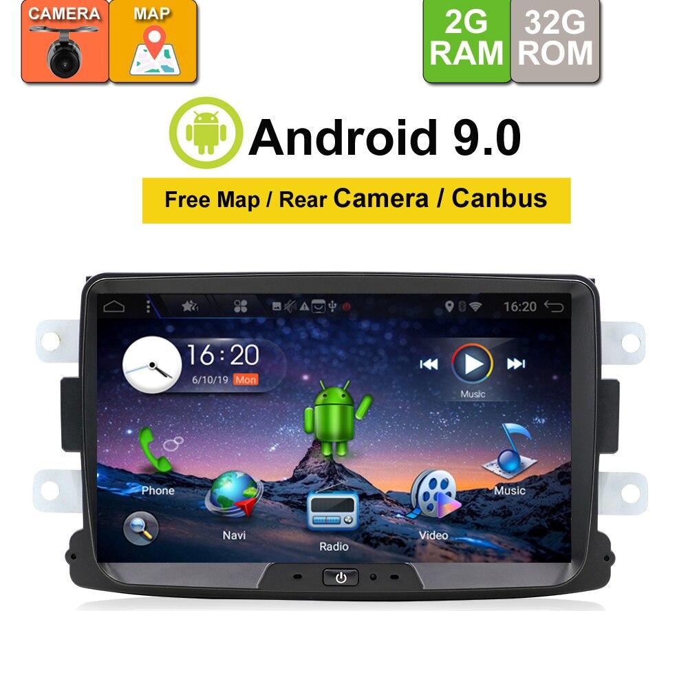 32G Android 9.0 Car dvd player gps para Dacia Duster Logan Sandero Captur Lada Raio X 2 rádio de navegação gps player de vídeo da câmera