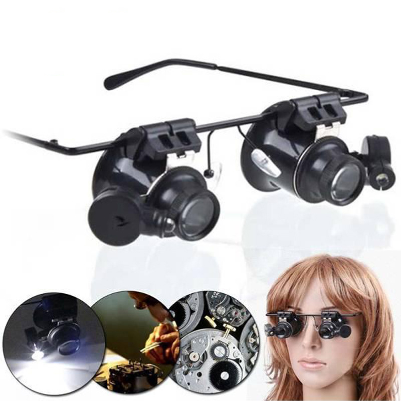 Safety Goggles With LED Lights Jewelry Magnifying Glasses Magnifier 20X Lens Watch Repair and Maintenance Inspection new design binocular glasses type 20x watch repair magnifier with led light drop shipping shipping
