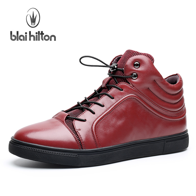 Blai Hilton 2017 New Fashion Spring/Autumn men shoes Genuine Leather shoes Breathable/Comfortable Black Red Men's Casual Shoes ege brand handmade genuine leather spring shoes lace up breathable men casual shoes new fashion designer red flat male shoes