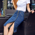2017 Summer Front Single Buttons Denim Sexy Knee Length Slit Hip Skirt Young Women Slim Jeans Pencil Skirts Plus Size 6XL