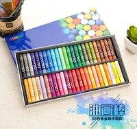 48 Colores/Set Forma Redonda 70*11mm de Aceite Pastel para Artista Estudiantes Escuela Papelería Lápiz de Dibujo Arte suministros de pintura de Cera