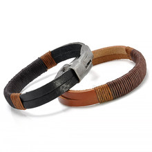 1PC Hand-woven Fashion Surfer Vintage Hemp Wrap Leather Wristband Bracelet Cuff Black Brown Allergy Free Black Gifts Brown Men(China)