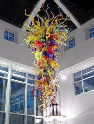 Grande Grande Multicolor Cadeia Lustre De Vidro de Suspensão para Casa Nova Decoração Da Mão Flush Montado Luz do Candelabro De Vidro Soprado