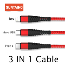 Suntaiho for iphone cable 3in1 ios micro USB for xiaomi 4C USB Type C cable for samsung s9 for one plus 6 5 Fast Charging cable