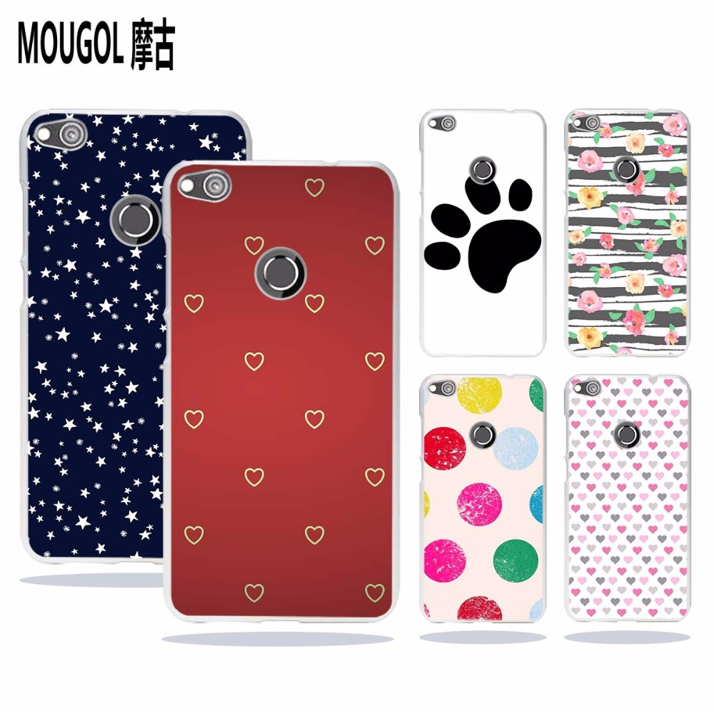 MOUGOL Polka Dots line design transparent hard Phone case cover for Huawei Honor8 P8 P9 P10 Lite 2017 Plus