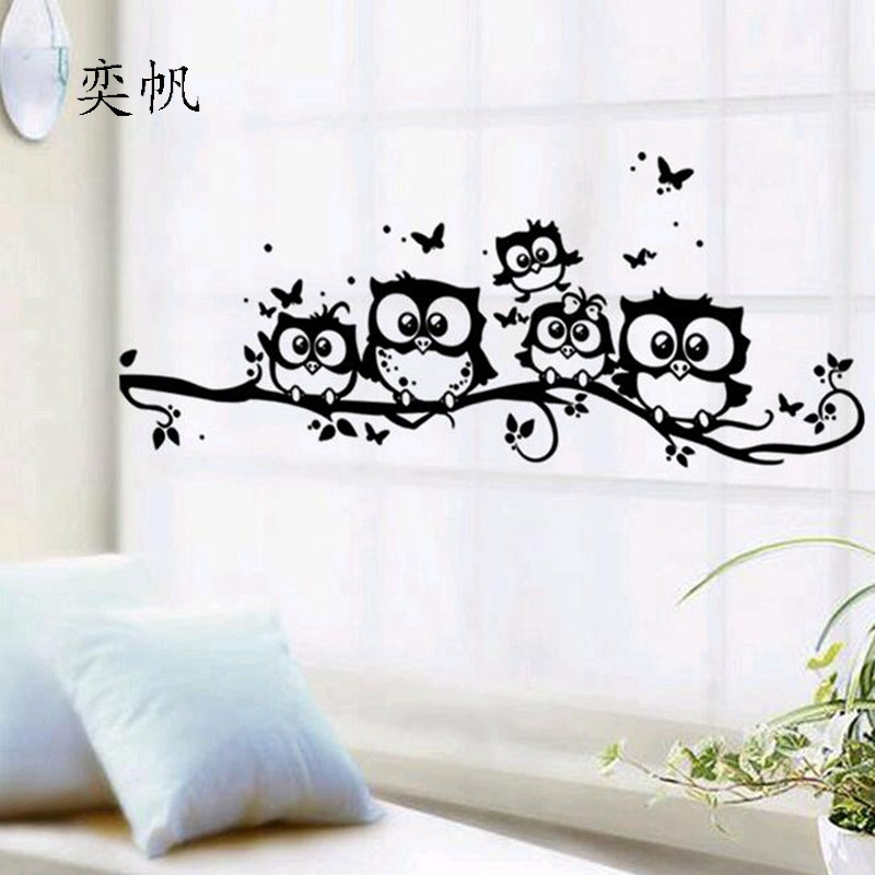 Free shipping Owls on tree wall stickers for kids rooms home decoration bedroom animals decals living room Swing Tree Poster