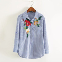 Sweet Women Floral Embroidery Striped Shirts Three Quarter Sleeve Fancy Blouse Ladies Office Wear Tops