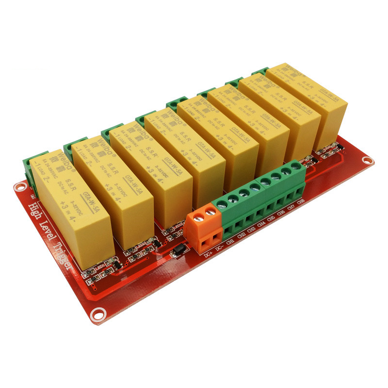 8 channel solid state relay module 5V 12V 24V high level trigger DC control AC load 5A for PLC automation equipment control om zfv sc90 140605 industry industrial use automation plc module p v