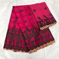 Very Hot ALUMO Cotton Swiss Voile Lace Fabric 100% Egypt Cotton with 2Yards Chiffon 2019 High Quality Stones African Lace Fabric