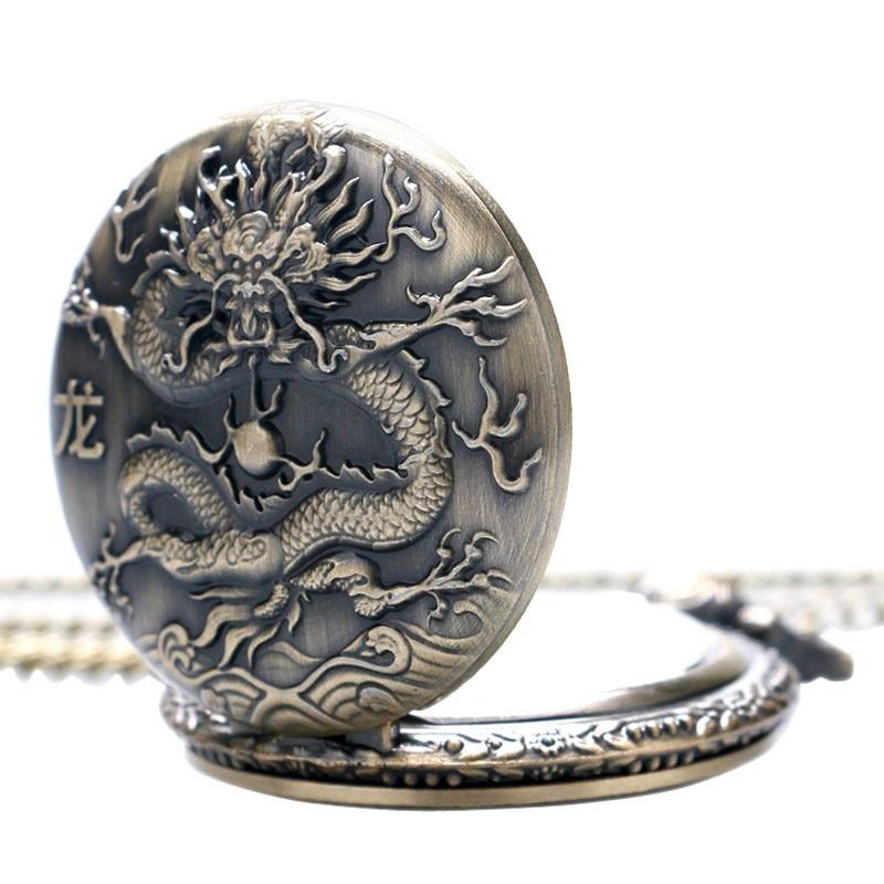 3D Kinesisk Dragon Bronze Quartz Pocket Watch Halskæde vedhæng ur - Lommeur - Foto 5